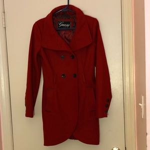 Guess Red Wool coat with black buttons